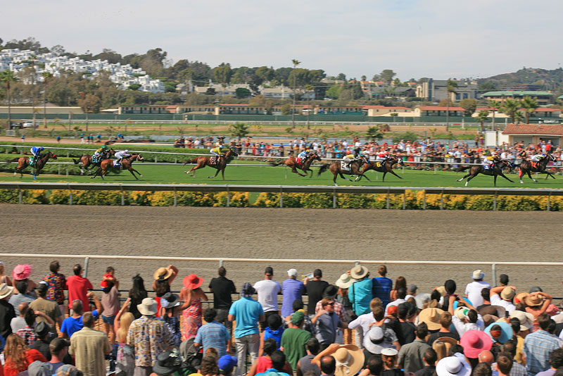 A view of opening day with the horses racing!